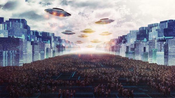 Alien UFO attack on the future city of Earth